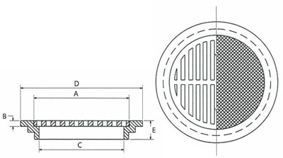 Light Duty ring and cover or grate for slab construction.